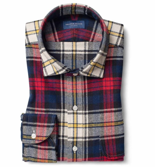 Scarlet Navy and Yellow Plaid Country Flannel
