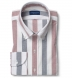 American Pima Navy and Red Melange Wide Stripe Oxford Shirt Thumbnail 1