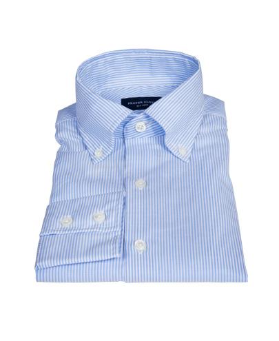 Blue Cotton Linen Stripe Men's Dress Shirt