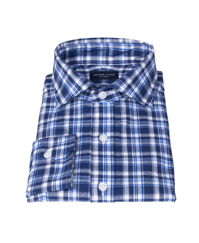 Blue and White Madras Fitted Shirt