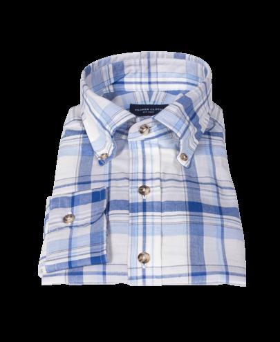 Blue and White Organic Madras Dress Shirt