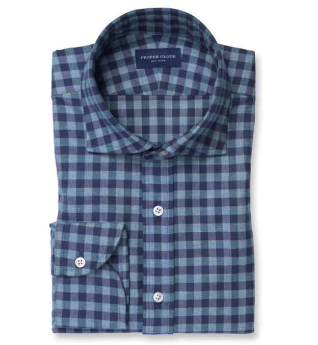 Slate Blue Melange Gingham Donegal Flannel