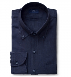 Grandi and Rubinelli Washed Navy Linen Fitted Shirt