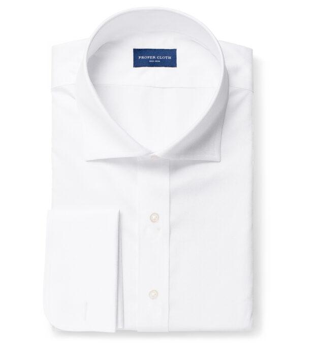 Non-Iron Supima White Twill Fitted Dress Shirt