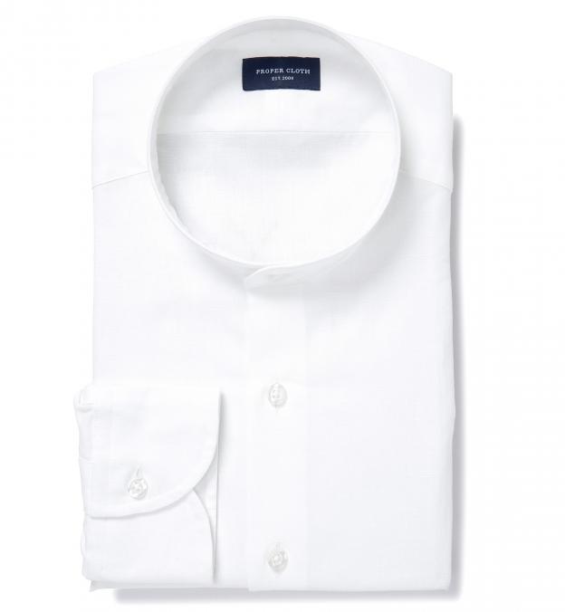 White Cotton Linen Oxford Band Collar