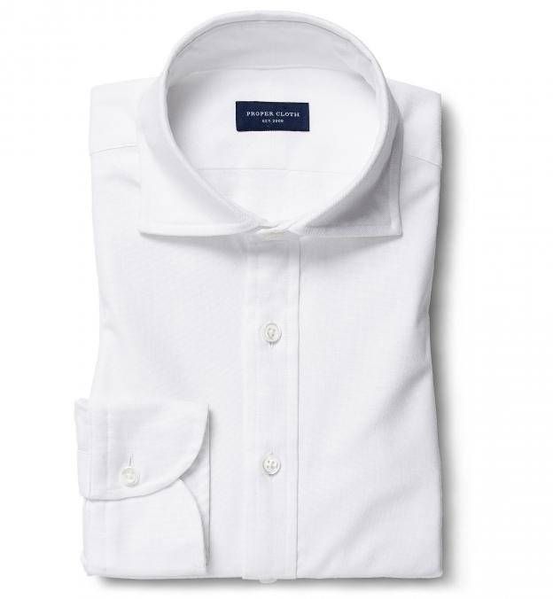 Thomas Mason White Comfort Oxford Popover