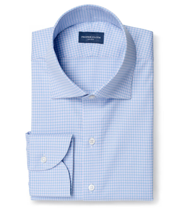 Thomas Mason Non-Iron Stretch Blue and Lavender Check