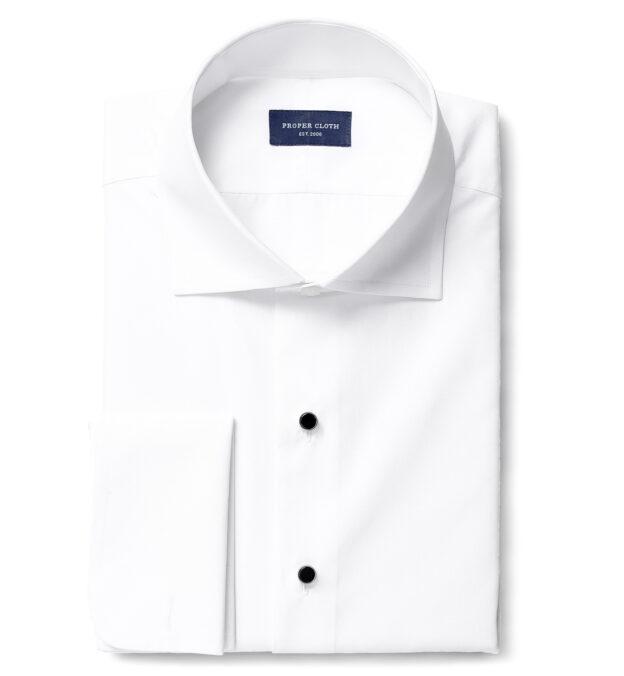 Stanton 120s White Broadcloth Tuxedo Front Plain