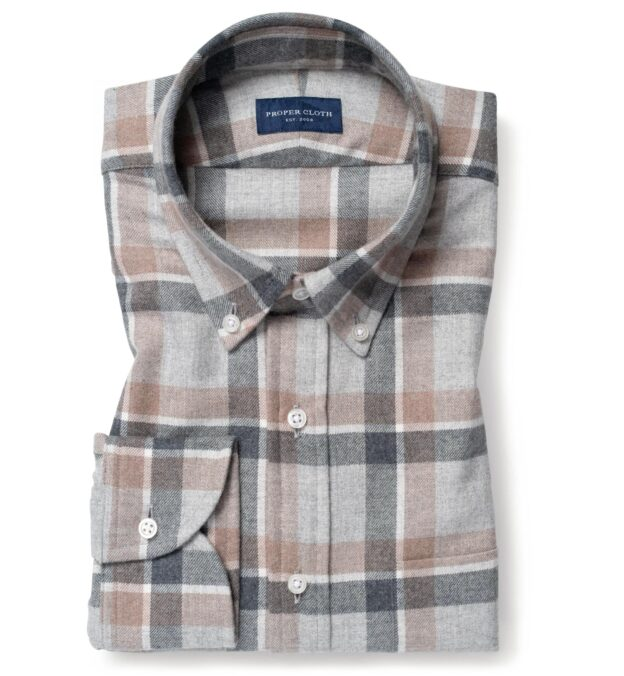 Canclini Light Grey and Beige Shadow Plaid Beacon Flannel