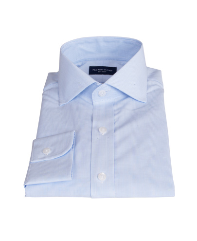Pale Blue Mini Grid Fitted Dress Shirt
