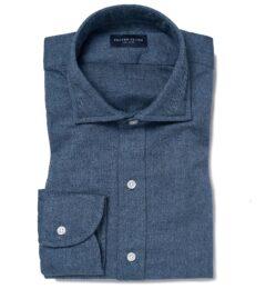 Canclini Glacier Blue Herringbone Beacon Flannel Men's Dress Shirt