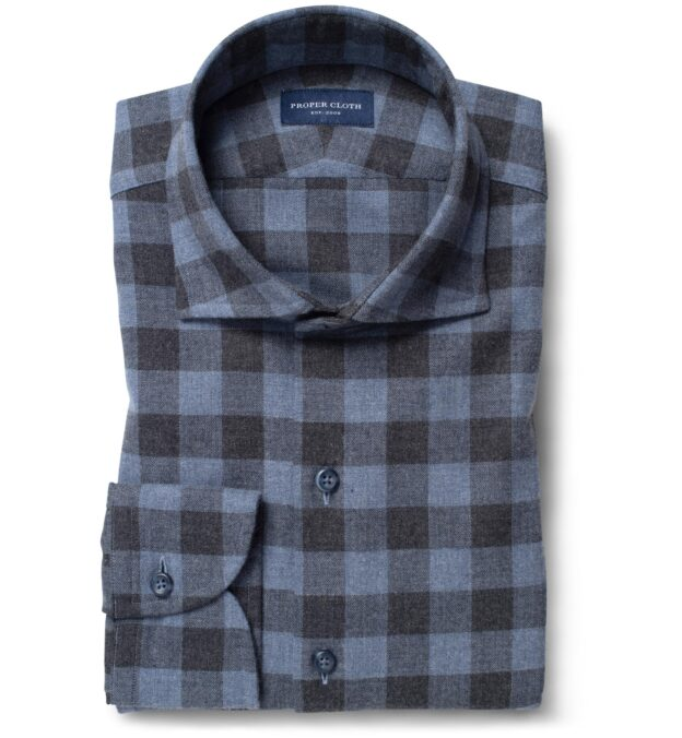 Stowe Slate and Charcoal Melange Gingham Flannel