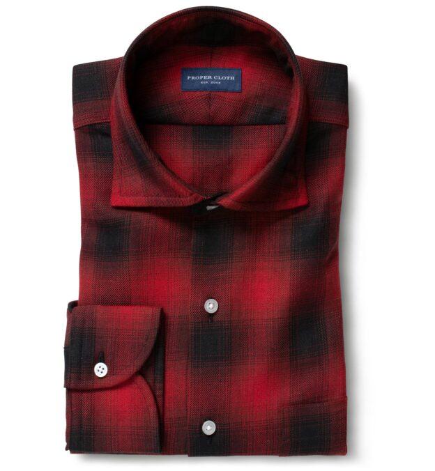 Scarlet Ombre Plaid Cotton Linen Blend