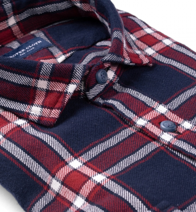 Japanese Washed Navy Red and White Country Plaid
