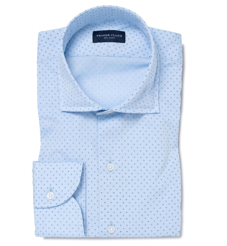 252d48c6042 Light Blue and Navy Micro Floral Print Fitted Shirt by Proper Cloth