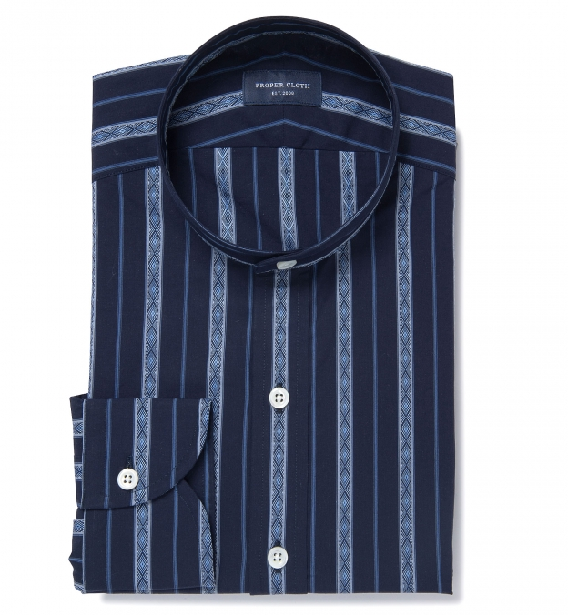 Albini Navy Folk Stripe Band Collar