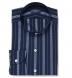 Albini Navy Folk Stripe Band Collar Shirt Thumbnail 1
