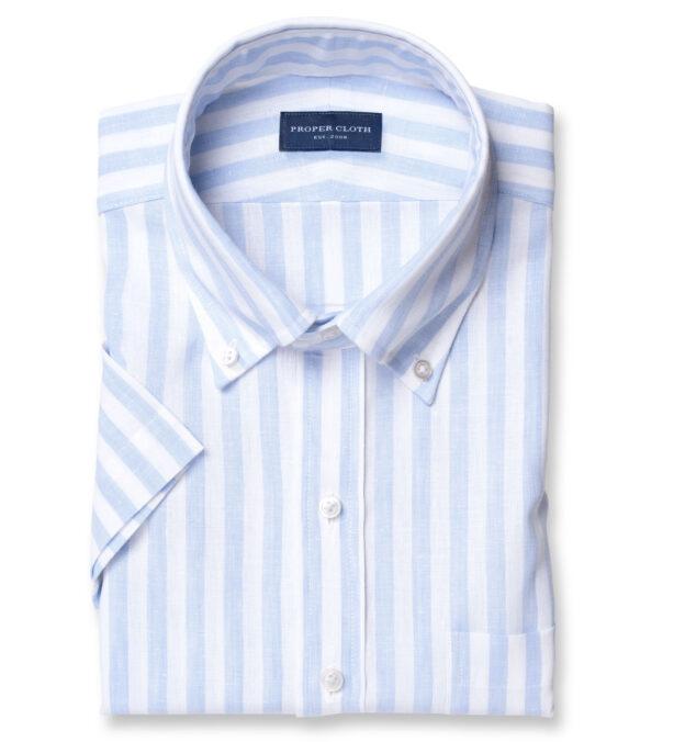 Bondi Light Blue Stripe Linen Blend