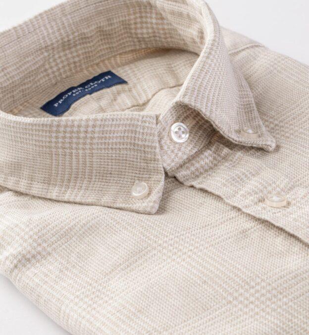 Tessuti di Sondrio Beige Natural Dye Glen Plaid Linen