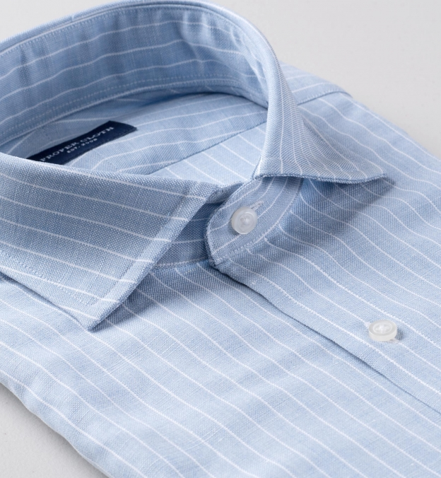Thomas Mason Washed Light Blue Stripe Cotton Linen Oxford