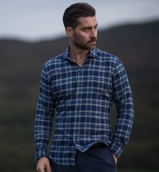 Whistler Blue and Grey Large Plaid Flannel