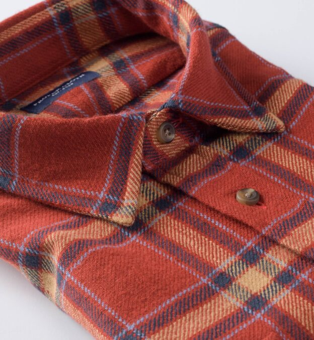 Japanese Washed Scarlet and Gold Country Plaid