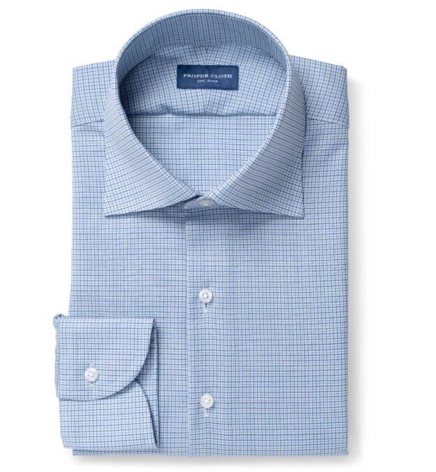 Reda Blue and Light Blue Micro Check Merino Wool