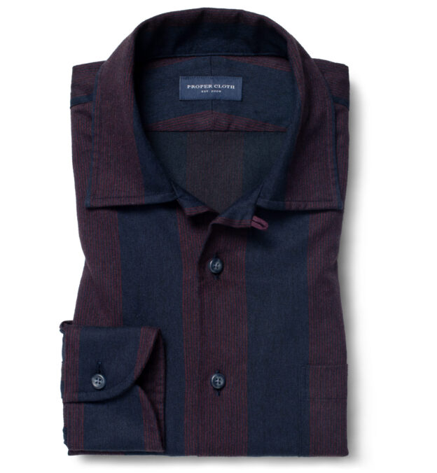 Canclini Navy and Red Wide Stripe Beacon Flannel