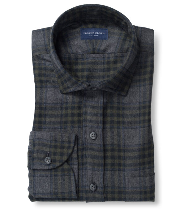 Canclini Grey and Pine Plaid Beacon Flannel