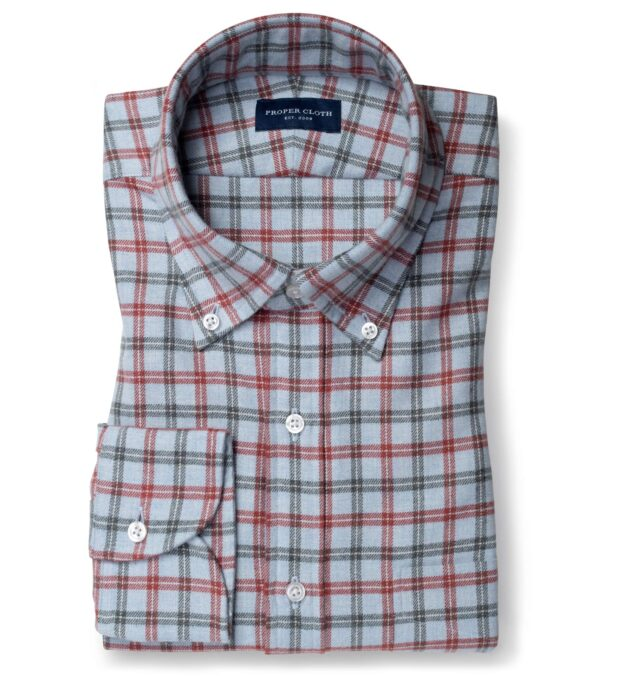Canclini Light Blue and Red Small Plaid Beacon Flannel