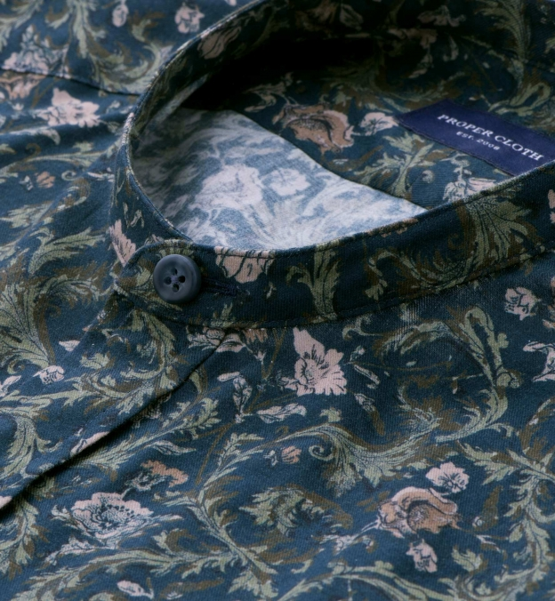 Albini Navy Green and Rose Vintage Floral Print