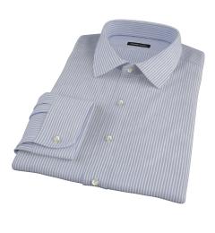 Canclini Blue Grey Alternating Stripe Fitted Dress Shirt