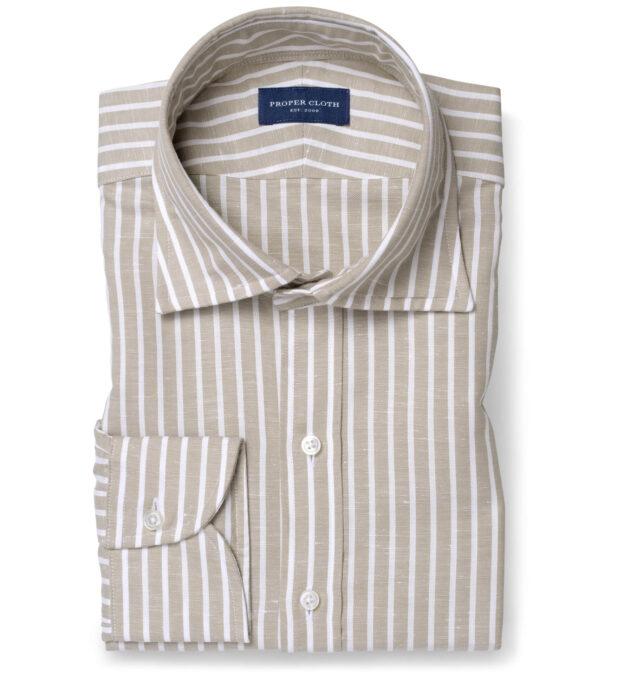 Portuguese Beige Stripe Cotton Linen Oxford