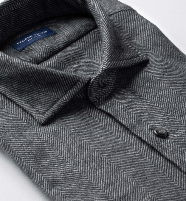 Canclini Grey Extra Large Herringbone Beacon Flannel