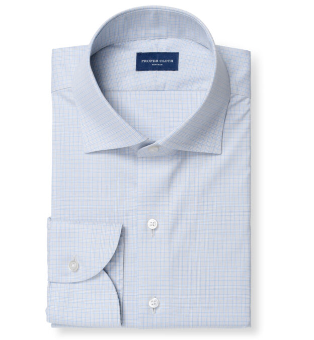 Non-Iron Stretch Light Grey and Blue Small Check