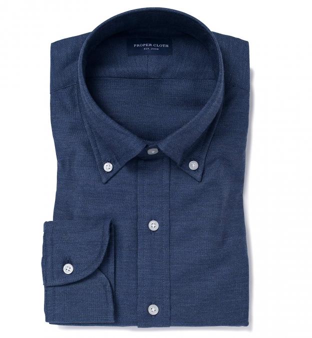 Navy Cotton Melange Oxford Popover