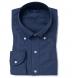 Navy Cotton Melange Oxford Popover Shirt Thumbnail 1