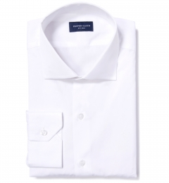 Mercer White Broadcloth Fitted Dress Shirt