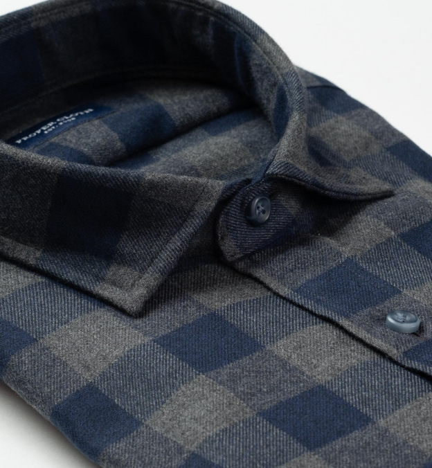 Canclini Grey and Navy Gingham Beacon Flannel