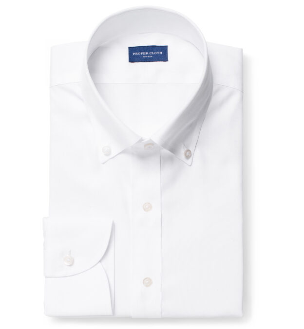 Non-Iron Supima White Pinpoint Button Down