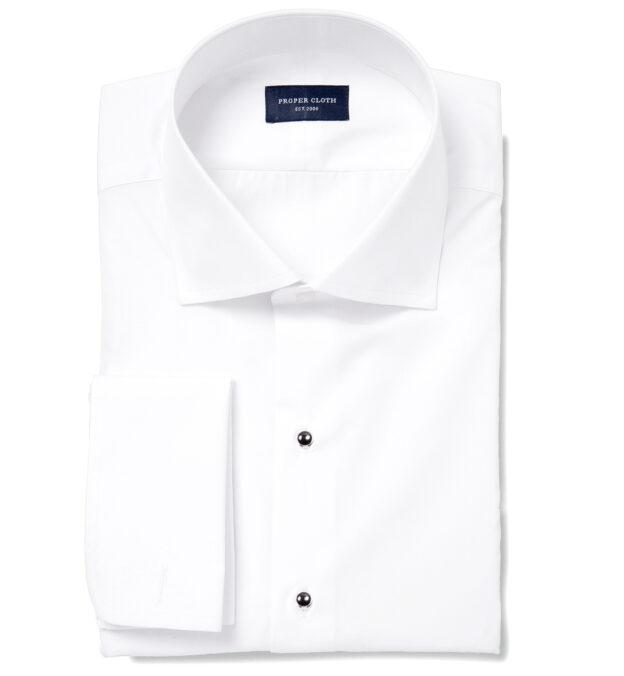 Hudson White Wrinkle-Resistant Twill Tuxedo Front Plain