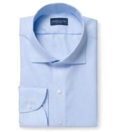 Mayfair Wrinkle-Resistant Light Blue Houndstooth Fitted Dress Shirt
