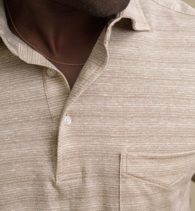 Beige Cotton and Linen Melange Knit