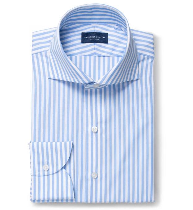 Stanton 120s Light Blue Wide Bengal Stripe