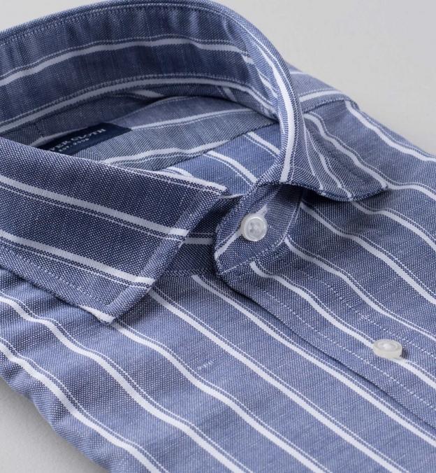 Thomas Mason Washed Slate Vintage Stripe Cotton Linen Oxford