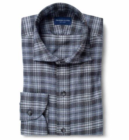 Satoyama Light Grey and Slate Plaid Flannel