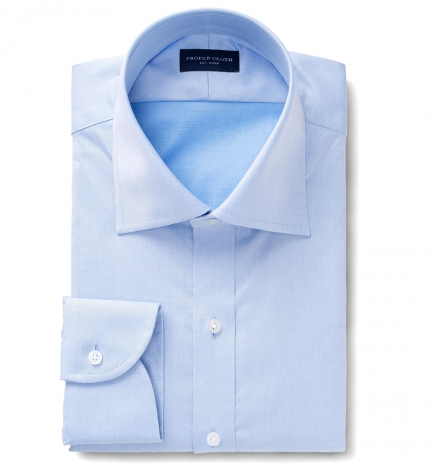 Hudson Wrinkle-Resistant Blue Twill Fitted Dress Shirt