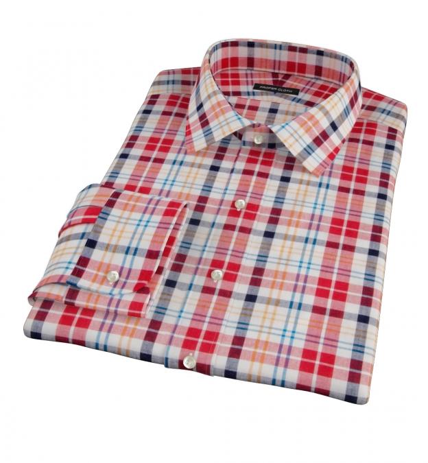 Red Orange Blue Madras Men's Dress Shirt