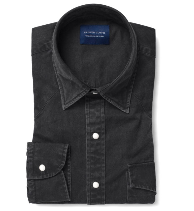 Albiate Washed Black Denim Dress Shirt
