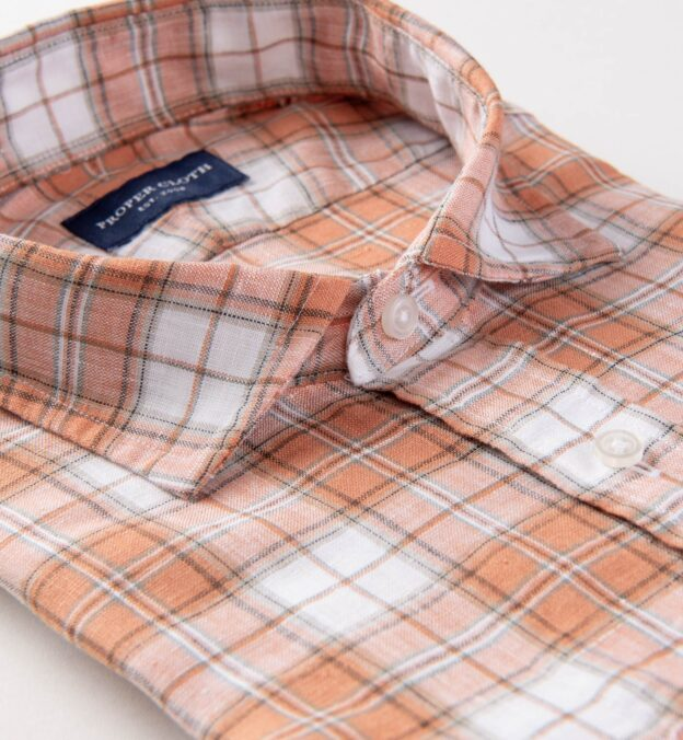 Portuguese Washed Sienna and White Plaid Linen